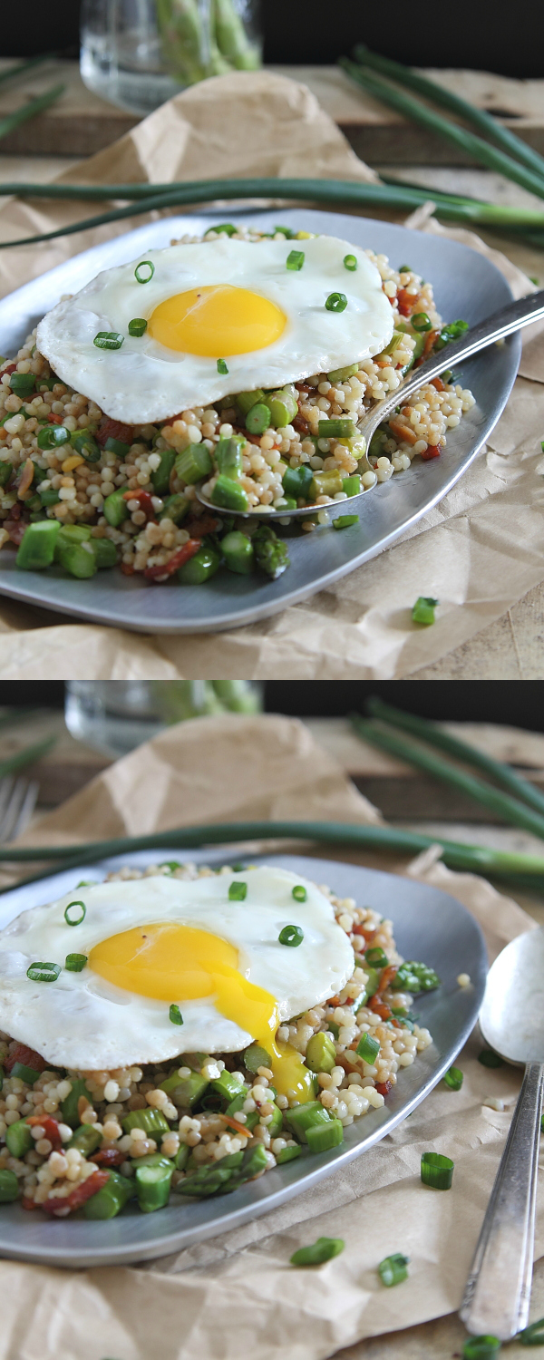 Put an egg on top of this bacon asparagus fried couscous and call it an easy spring meal!