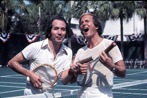 Musicians Trini Lopez and Pat Boone during a tennis event: Fort Lauderdale, Florida