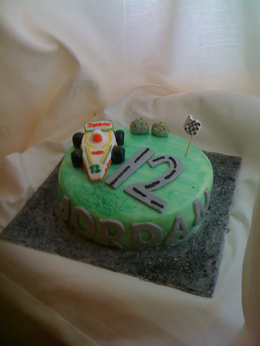 Boys racing car birthday cake