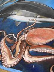 art(1.0), painting(1.0), octopus(1.0), invertebrate(1.0), marine invertebrates(1.0), still life(1.0),