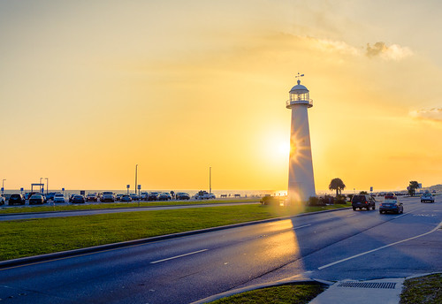 biloxi mississippi unitedstates us hdr mississippigulfcoast gulfofmexico lighthouses sunset goldenhour highway automobiles beach ocean water outdoors lumenzia