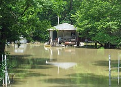 boathouse, flood, water, bayou, reflection, pond,