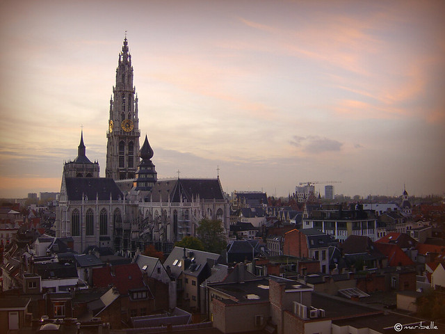 Antwerp Cathedral at dusk