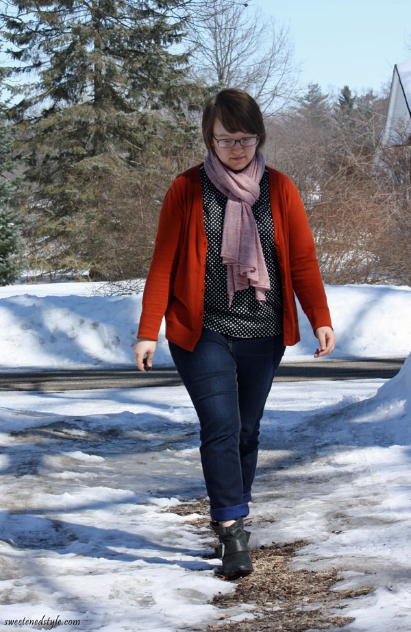 polka dot top, orange cardi, pink scarf, booties
