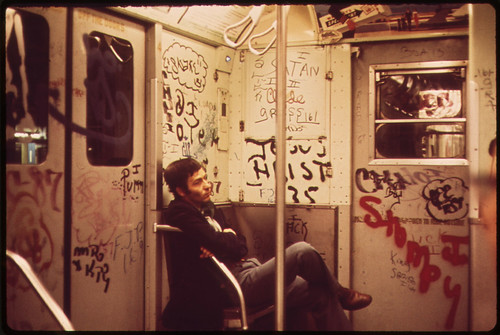 Documerica photo by Eric Calonius subway car 5/1973