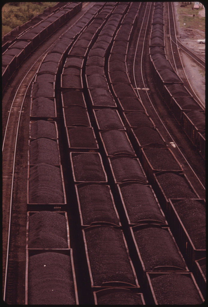 Loaded Coal Cars Sit in the Rail Yards at Danville, West Virginia, near Charleston. Awaiting Shipment to Customers...04/1974