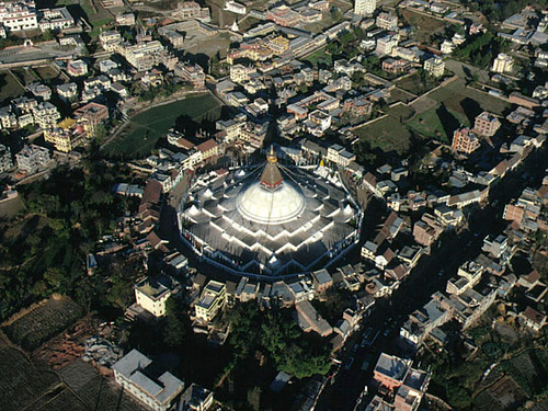Boudha Stupa, aerial view of the wish fulfilling chorten, Bodhanath, Kathmandu, Nepal by Wonderlane