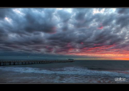 ocean sunset sky seascape beach nature water clouds canon lights pier sand surf australia adelaide southaustralia lightpole hdr highdynamicrange 1740 henleybeach 3xp photomatix henleyjetty 5dmkii