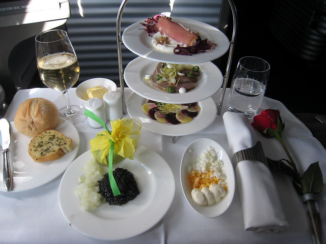 Appetizers on Lufthansa First Class