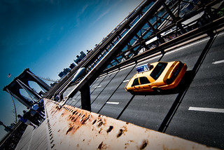 Yellow Cab on the Brooklyn Bridge