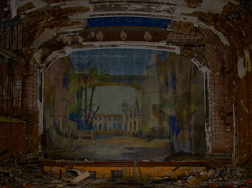 abandoned ruins theater stage indiana palace gary