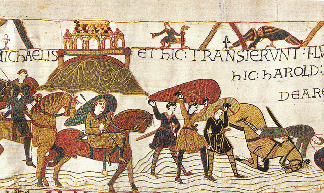 Bayeux Tapestry 08 Norman Army crosses Coueson near Mont St Michel