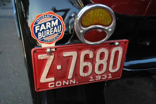 1931 ford model a fordor license plate and farm bureau for Bureau licence