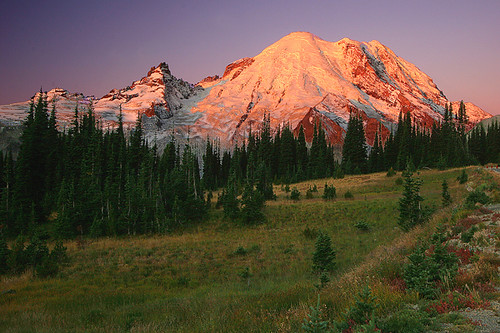 usa sunrise washington rainier cascades mtrainier soe kartpostal