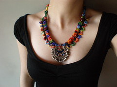Old World - Moon ... Freeform Crochet / Embroidery Necklace