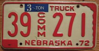NEBRASKA 1972 ---COMMERCIAL 3 TON TRUCK plate