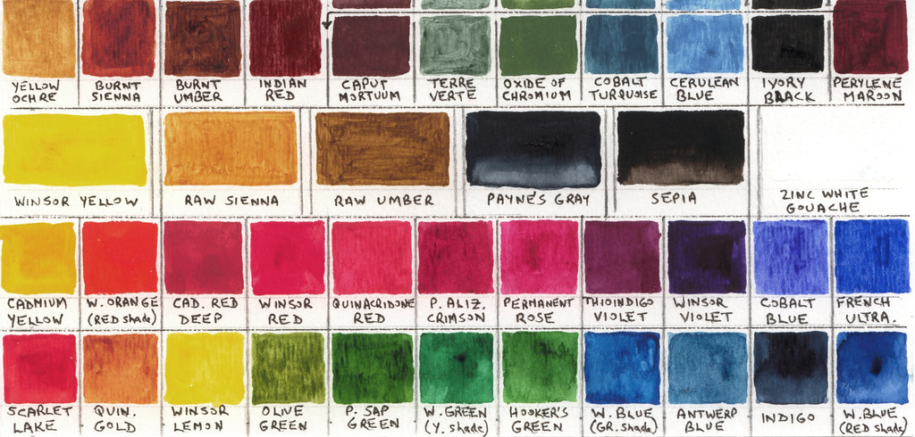 Watercolour Box, Colour Chart