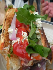 blt(0.0), salad(0.0), bruschetta(0.0), prosciutto(0.0), smoked salmon(0.0), tostada(1.0), meal(1.0), breakfast(1.0), vegetable(1.0), bread(1.0), produce(1.0), food(1.0), dish(1.0), cuisine(1.0),
