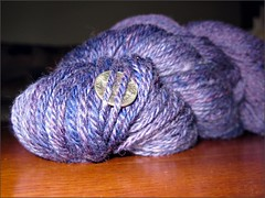 Purr-ple yarn, finished