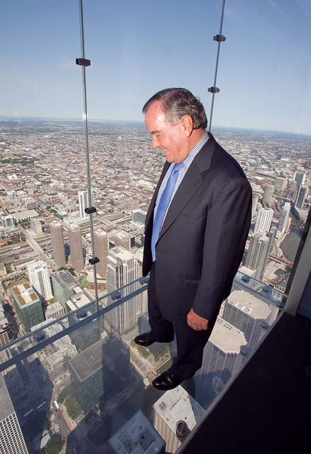 Mayor Richard M. Daley on Willis Tower glass-bottom Skydeck
