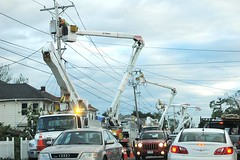 light fixture, vehicle, transport, suburb, overhead power line, residential area, electricity, construction equipment, lighting,