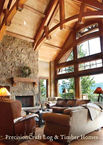 Great room with a view located in idaho by for Timber frame great rooms
