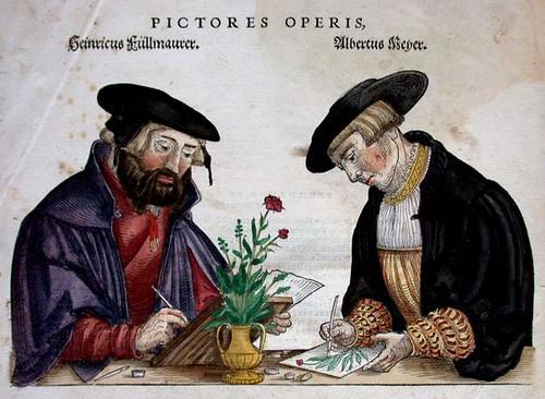 Иллюстрация иллюстрирующая ботанических иллюстраторов за работой