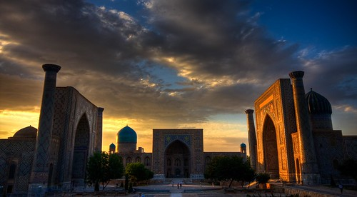 old city travel light sunset asia cityscape minaret islam religion silkroad uzbekistan centralasia hdr medressa samarcande canoneos40d theunforgettablepictures masterpiecesofphotography