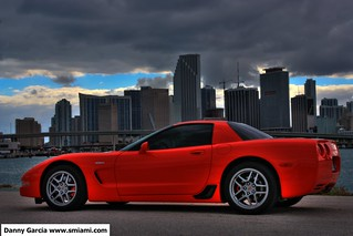 Corvette Z06 in Downtown Miami with storm brewing HDR | by danmiami