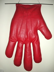 red, leather, glove,