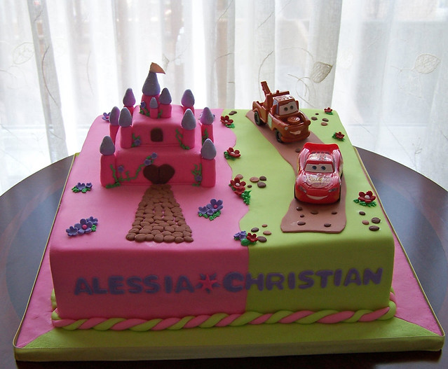 Twins Birthday Cake Castle And Cars Flickr Photo