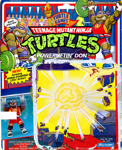 """TURTLE GAMES"" TEENAGE MUTANT NINJA TURTLES :: POWER LIFTIN' DON ..card backer i (( 1992 ))"