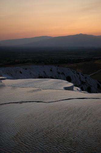 sunset white turkey terraces calcium travertine pamukkale carbonate