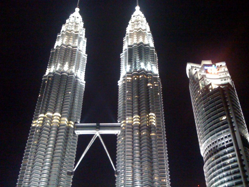The Petronas Twin Towers at night