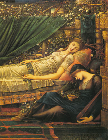 detalle de la Bella durmiente de Burne Jones