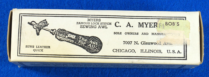 RD15044 C A Myers Co Famous Lock Stitch Sewing AWL Vintage Leather Tool in Original Box with Instructions DSC08818