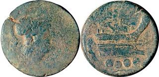 43/3c Luceria L Triens. Italian civic mint. [oooo] / L behind / Minerva; ROMA / Prow / L / oooo. RR ex AM#0973-27, 27g37