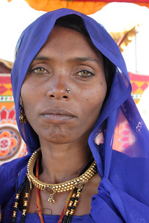 Nomadic woman at the camel fair in Pushkar, Rajasthan