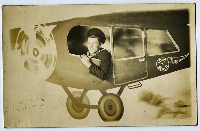 1940s World War 2 Military Sailor vintage  photo Man In Long Beach California Cutout Plane