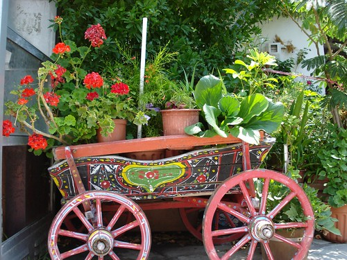 Painted wooden cart at Ouranopoli - Halkidiki