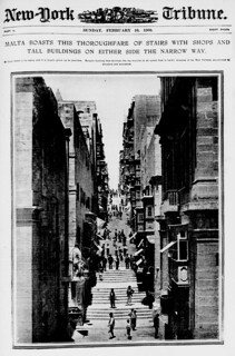 Malta boasts this thoroughfare of stairs with shops and tall buildings on either side of the Narrow Way (LOC)