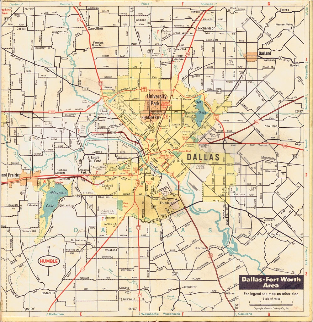 Old Dallas Map.Dallas Map Undated Old Road Map Of Dallas Click On All Si Flickr
