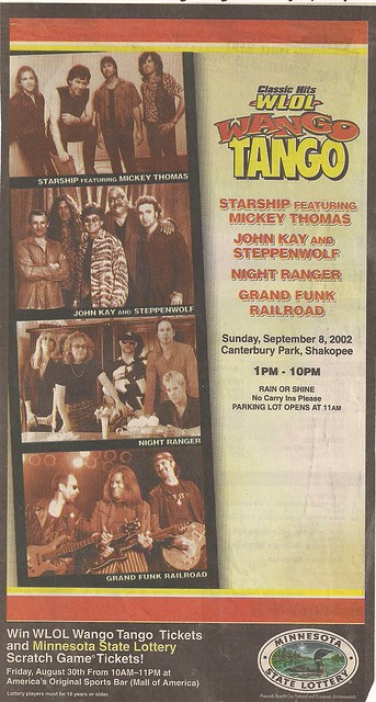09/08/02 WLOL Wango Tango /W/ Grand Funk Railroad/Night Ranger/Steppenwolf/Starship @ Shakopee, MN (Ad)