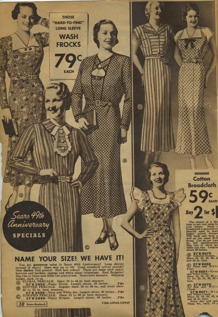 Sears catalogue 1935 plus-size frocks, dresses | genibee ...