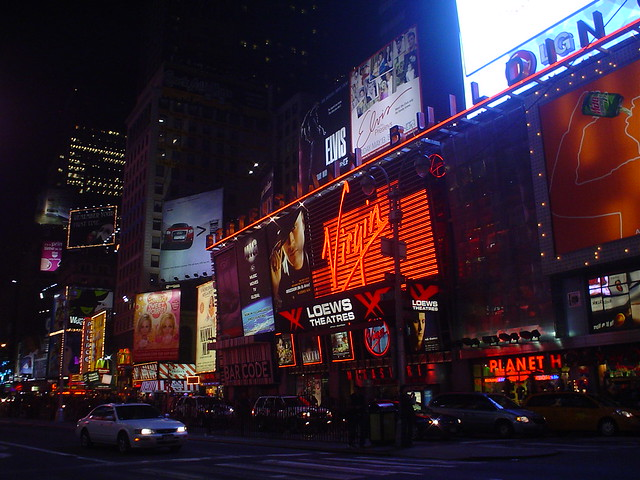 times square by night in new york city usa