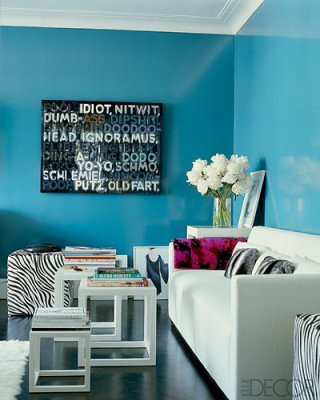 Blue + white + zebra ottoman, from Elle Decor by xJavierx