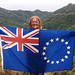 Pa with CI flag during the Cook Islands 350 Trek for Climate Action