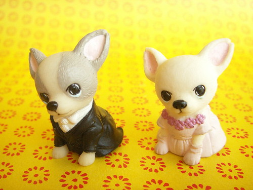 Kawaii Chihuahua Dogs Bride and Groom Miniature Doll Cute Japan