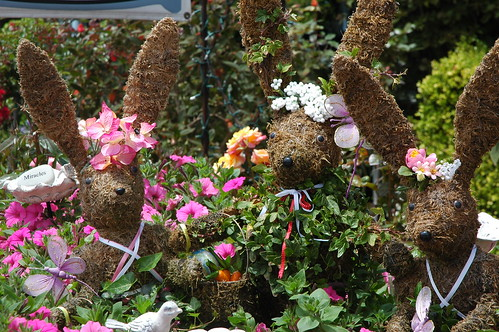 Garden bunnies with floral headresses, Mill Rose Inn, Half Moon Bay, California, USA by Wonderlane