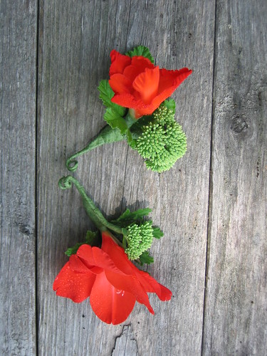 Boutonniere with red glad by Shady Grove Gardens